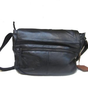 Bella - black silver leather handbag
