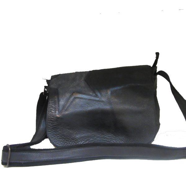 Bella - black silver leather handbag
