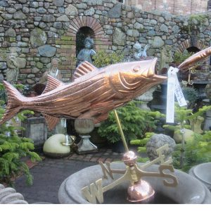 bass with lure weathervane at Larch Cottage Nurseries