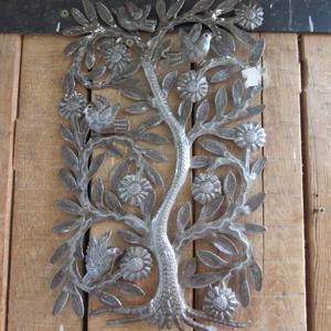 Arbre fleurs 4 oiseaux relief CLA014-3043