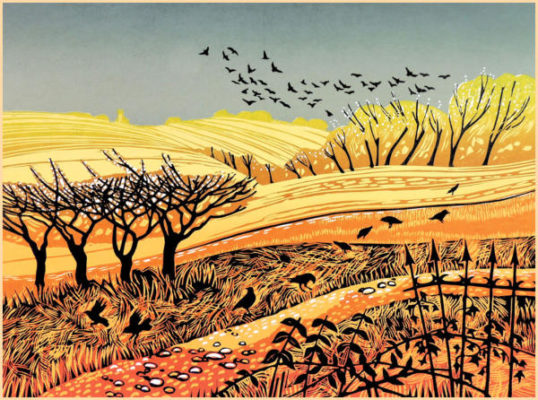 Sunlit fields - Rob Barnes Linocut