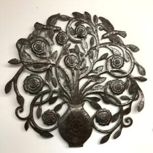 metal wall art flowers in a vase
