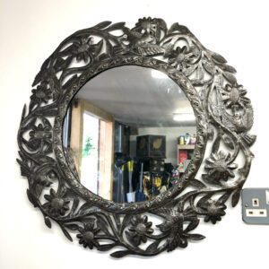 Metal mirror decorated with sunflowers and birds